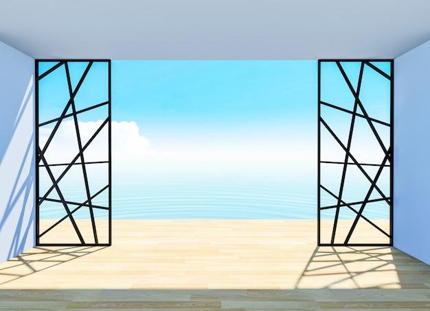 Interior da sala vazia com piso de madeira e terraço com vista mar, renderização em 3d