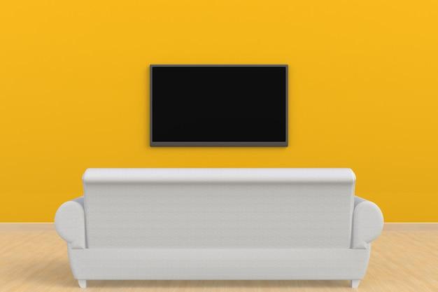 Interior da sala vazia com tv e sofá, sala de estar levou tv na parede amarela estilo moderno