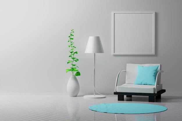 Interior da sala vazia em branco com cadeiras e vaso de lâmpada com planta
