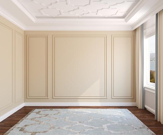 Interior da sala vazia. renderização 3d. a foto atrás da janela foi feita por mim.