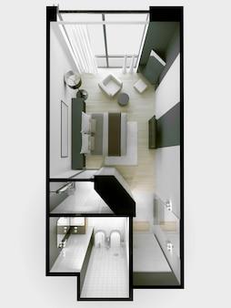 Interior de apartamentos de hotel de 3 estrelas nas cores branco e cinza sem telhado