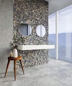 Interior de banheiro moderno com azulejos hexagonais azuis e cinza na parede. renderização 3d.