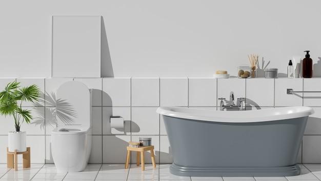Interior de banheiro moderno e limpo com banheira elegante, amenidades de banho e azulejos brancos
