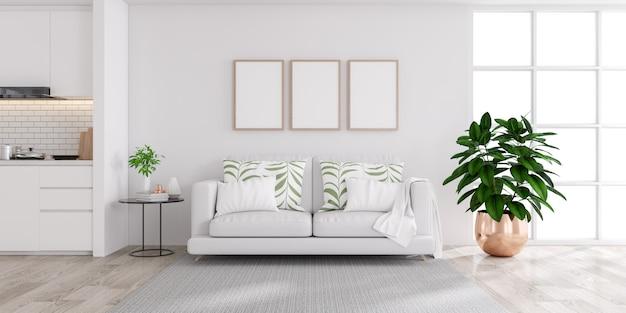 Interior de casa branco moderno, sala de estar e cozinha