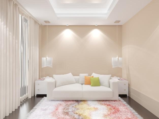 Interior de casa moderna com sofá branco