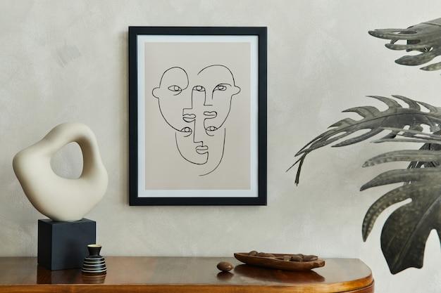 Interior de composição minimalista de sala de estar com moldura de pôster simulada e modelo de acessórios