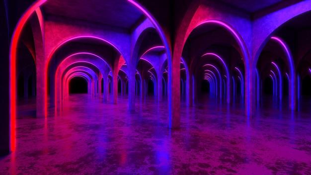 Interior de concreto moderno, com, ultravioleta, render 3d