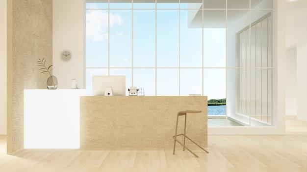 Interior de contador de recepção renderização em 3d no hotel - estilo minimalista