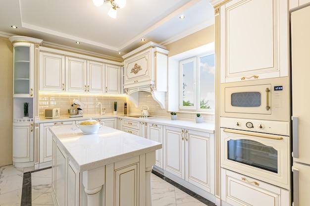 Interior de cozinha de luxo de estilo neoclássico com ilha