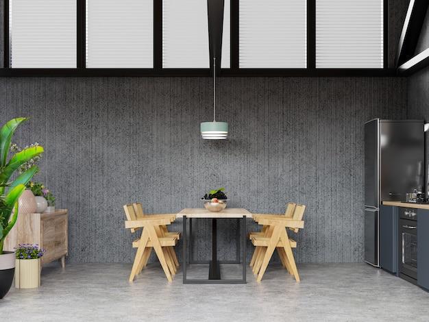 Interior de cozinha espaçosa com parede de concreto