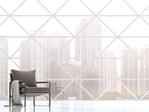Interior de edifício moderno com vista para a cidade as molduras das janelas renderizadas em 3d têm padrão triangular