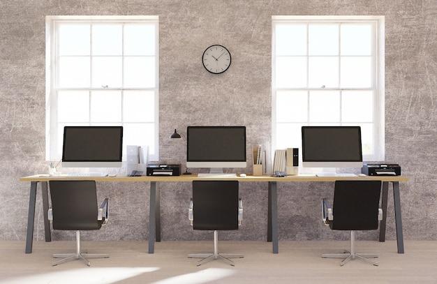 Interior de escritório de espaço aberto de muro de concreto com um piso de madeira