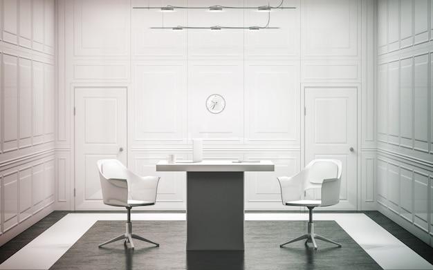 Interior de escritório de luxo branco em branco