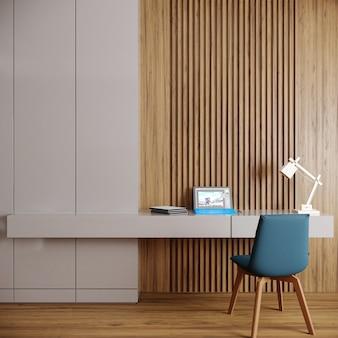 Interior de escritório moderno com mesa e cadeira azul