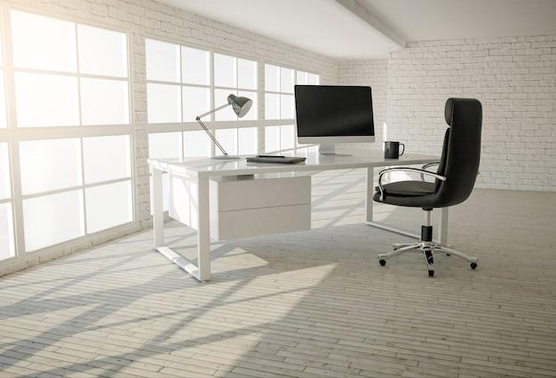 Interior de escritório moderno com paredes de tijolos brancos, piso de madeira e grandes janelas