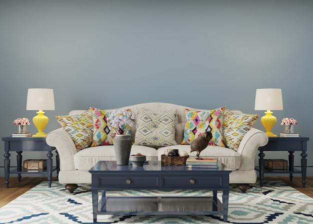 Interior de estar com sofá e mesa e travesseiro azuis