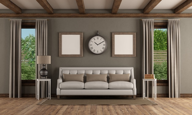 Interior de estilo clássico com sofá branco e duas janelas