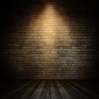 Interior de grunge 3d com holofotes brilhando