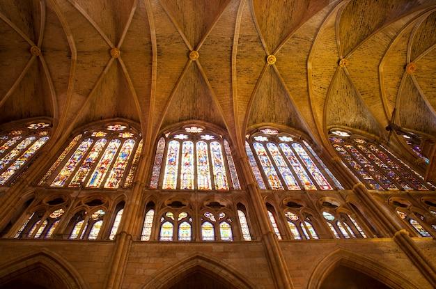 Interior, de, leon, catedral