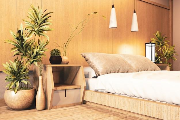 Interior de luxo moderno estilo japonês quarto mock up, projetando o mais bonito. renderização em 3d