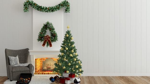 Interior de madeira da parede de natal 3d rendem a árvore de natal modelo