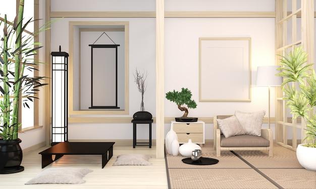 Interior de madeira da sala do estilo orininal moderno do zen da mistura moderna do zen com esteira de tatami e estilo japonês mínimo da parede de madeira. renderização em 3d