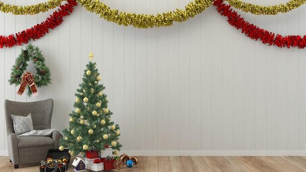Interior de madeira de parede de natal render modelo árvore de natal ano novo