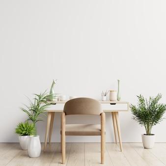 Interior de mesa de espaço de trabalho com parede branca de maquete.