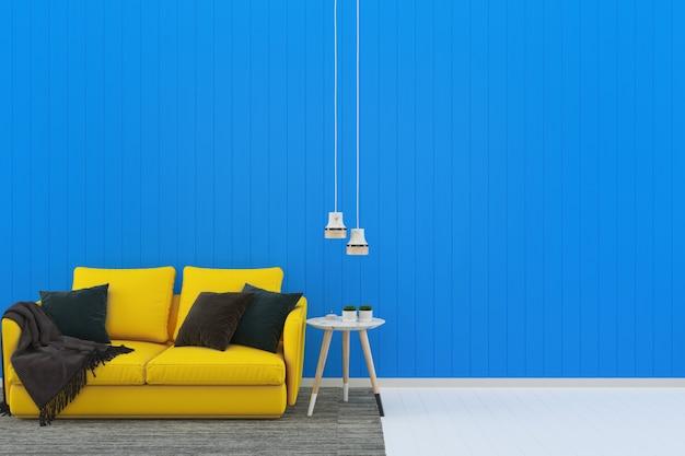 Interior de modelo vivo de parede de madeira sala pastel