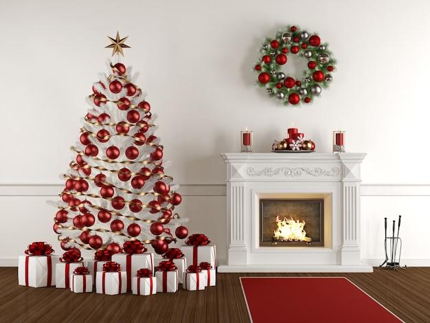 Interior de natal com lareira clássica, árvore de natal, presente e grinalda
