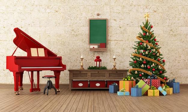 Interior de natal vintage com piano de cauda vermelho e decorações - renderização