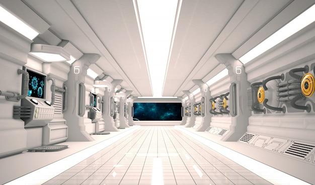Interior de nave espacial de design futurista com piso de metal e painéis de luz