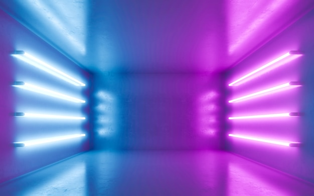 Interior de quarto abstrato para backgrtound com néon azul e violeta