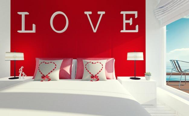 Interior de quarto amor-moderno para o dia dos namorados, renderização em 3d