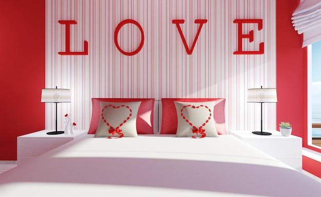 Interior de quarto amor-moderno para o dia dos namorados
