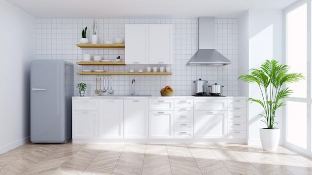 Interior de quarto branco de cozinha moderna