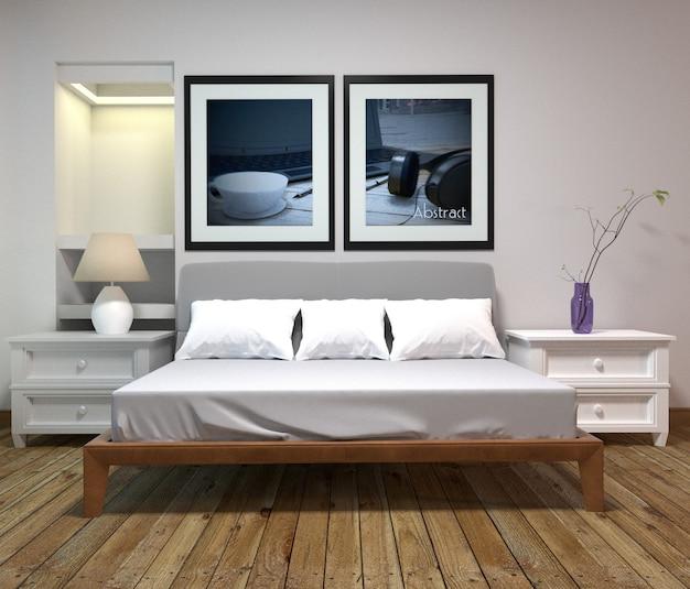 Interior de quarto de cama - estilo clássico - estilo de quarto original. renderização 3d
