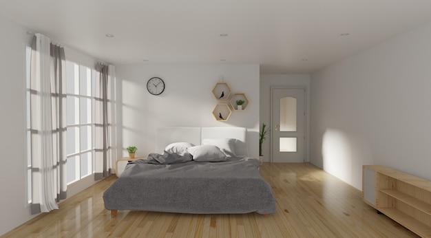 Interior de quarto de cama moderna com cadeira e fone de ouvido