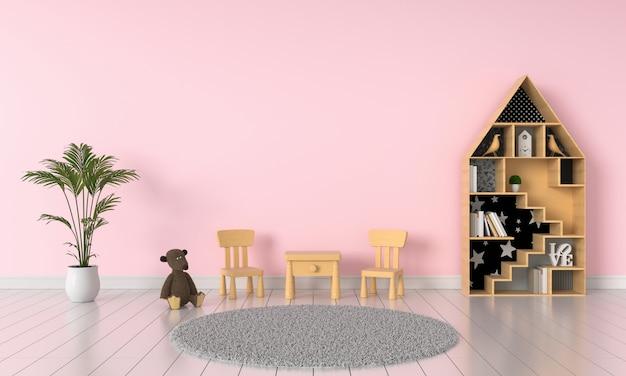 Interior de quarto de criança rosa para maquete