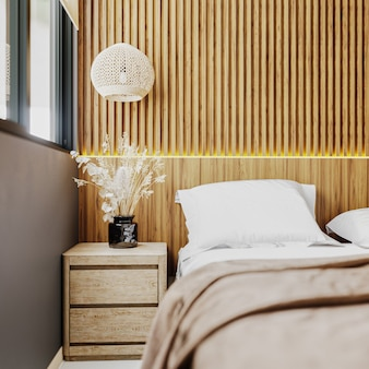 Interior de quarto de estilo oriental moderno com parede de painel de madeira com luz de enseada, mesa de cabeceira de perto, tons de marrom, conceito de interior de quarto de hotel, renderização em 3d