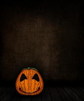 Interior de quarto grunge 3d com assustador jack o lanterna