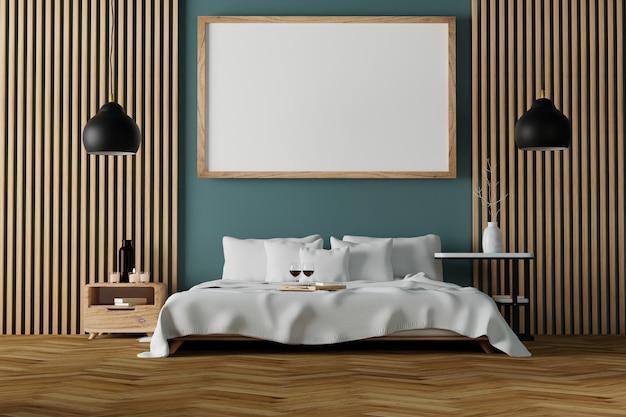 Interior de quarto moderno com moldura de madeira vazia na parede
