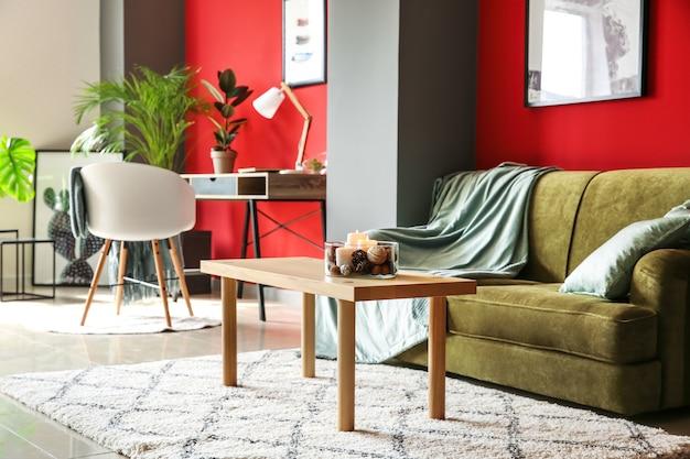 Interior de quarto moderno e confortável