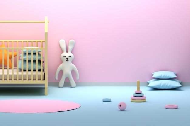 Interior de quarto rosa recém-nascido com um coelho