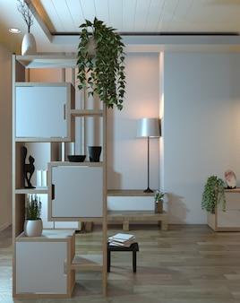 Interior de quarto zen vazio com parede de prateleira design de estilo japonês luz escondida