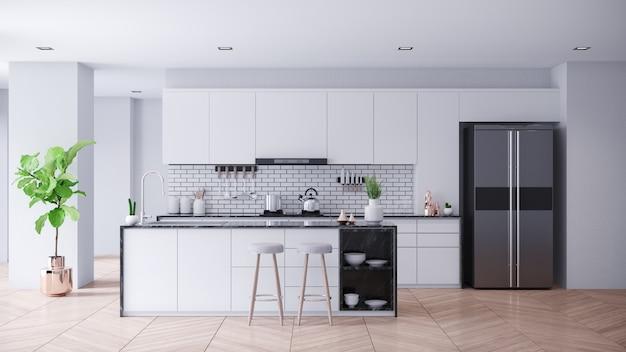 Interior de sala de cozinha branca contemporânea moderna