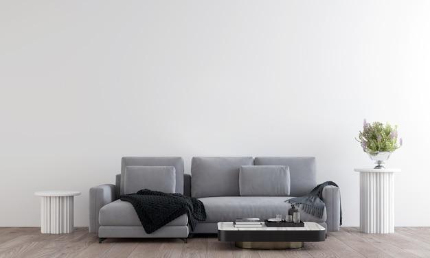 Interior de sala de estar acolhedor cinza branco com mesa de chá, decoração. ilustração 3d render