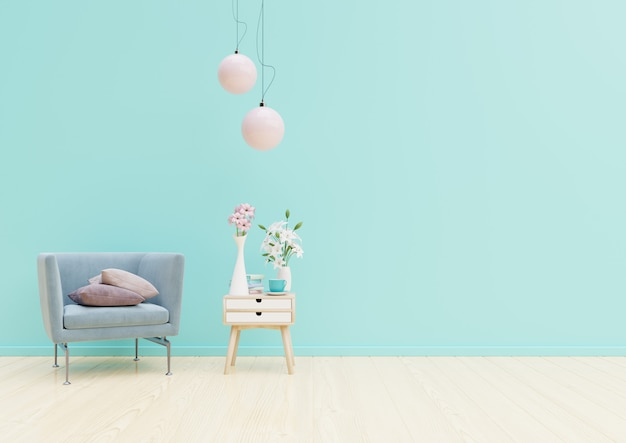 Interior de sala de estar com cadeira, plantas, armário e lâmpada no fundo da parede azul vazia