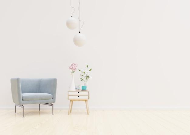 Interior de sala de estar com cadeira, plantas, armário e lâmpada no fundo da parede branca vazia
