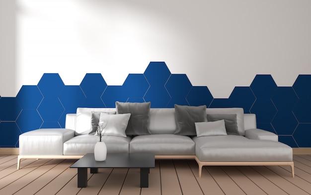 Interior de sala de estar moderna com decoração de poltrona e plantas verdes na telha azul de hexágono
